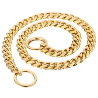 Heavy Gold 316L Stainless Steel Dog Chain Cut Cuban Link Collar For Pet Puppy Training Choker Dropshipping 16/26inch 13mm DC06