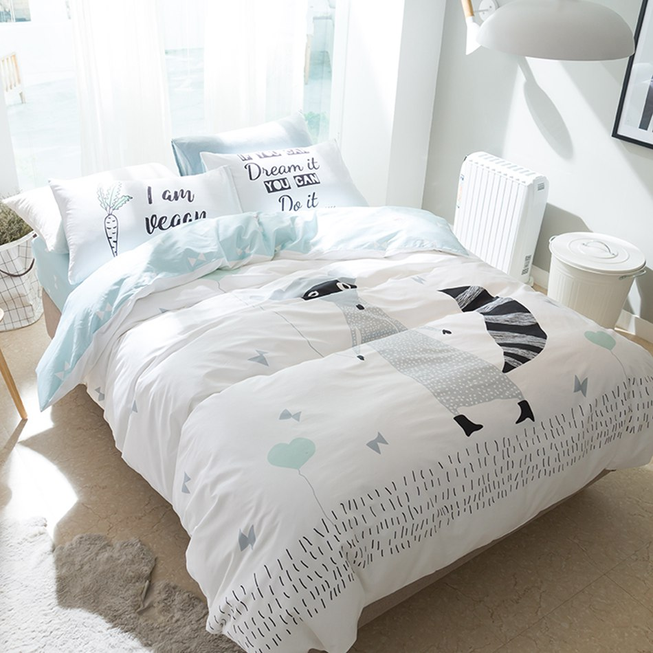 hot sale cartoon fox bedding set queen size 100 cotton duvet cover sets bed sheet or fitted. Black Bedroom Furniture Sets. Home Design Ideas