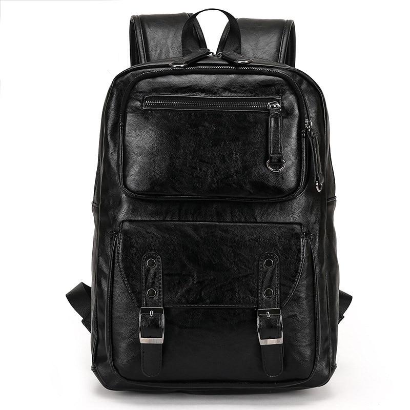 Backpack Men's Backpack PU Leather Travel Backpacks Men School Bag For Teenager Laptop Backpack Large Capacity Casual Travel Bag men backpack student school bag for teenager boys large capacity trip backpacks laptop backpack for 15 inches mochila masculina