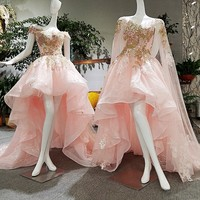 2017 lace pink high low off the shoulder short sleeves organza beaded appliques lace prom dress xj00156