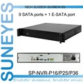 SunEyes SP-NVR-P16/P25/P36  2U NVR Network Video Recorder with 9 SATA HDD Port  P2P ATX110-220V  50-60HZ Project Quality