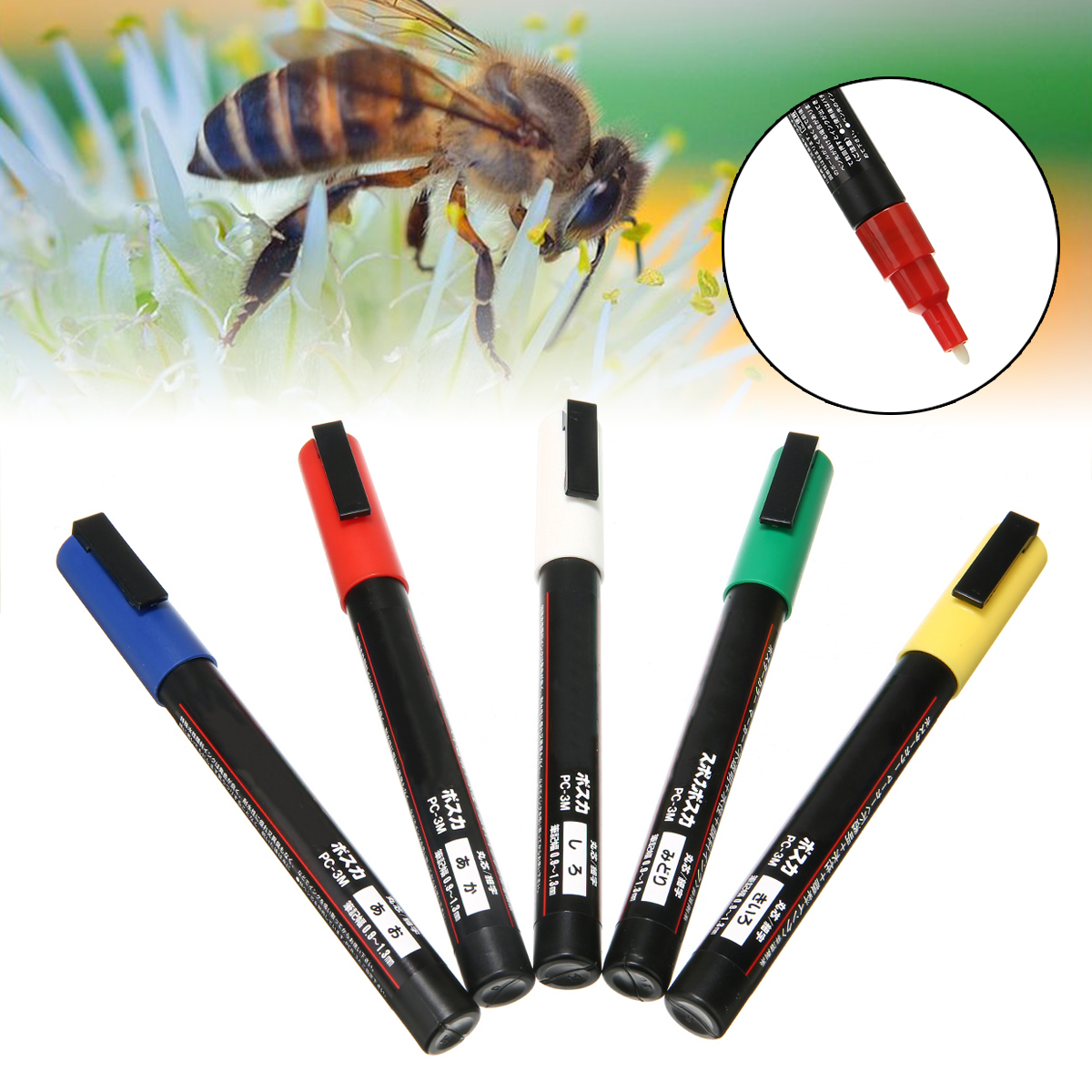5 pcs Beekeeper Marker Pen For Marking Queen Bee Pen Marker Paint Tool Set Blue/White/Red/Green/Yellow 5 Colors