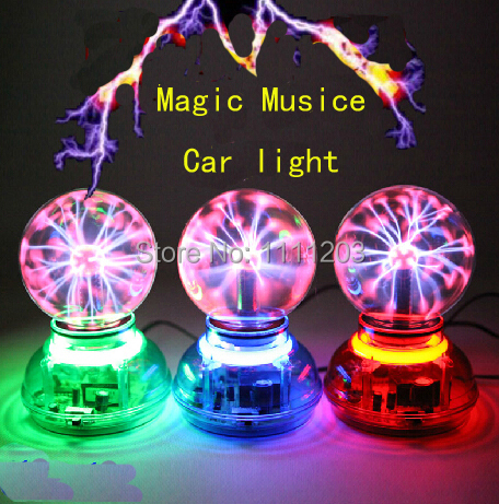 US $50 0 |3 5 inch Magic Car charger Plasma Ball Lamp Neon Sphere Negative  Ion Generator Car Light sound Music Voice Control Lightning-in Novelty