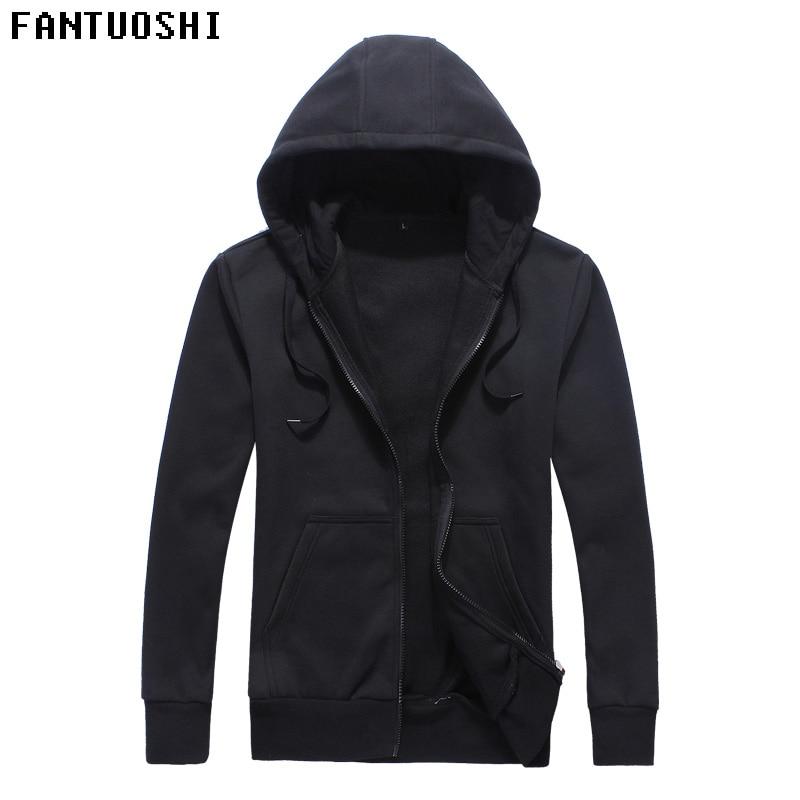2018 New Mens Hooded Cardigan Zip Coat Mens Sweatshirt Mens Cotton Blended Casual Long Sleeve Sweat Hoodie hooody men