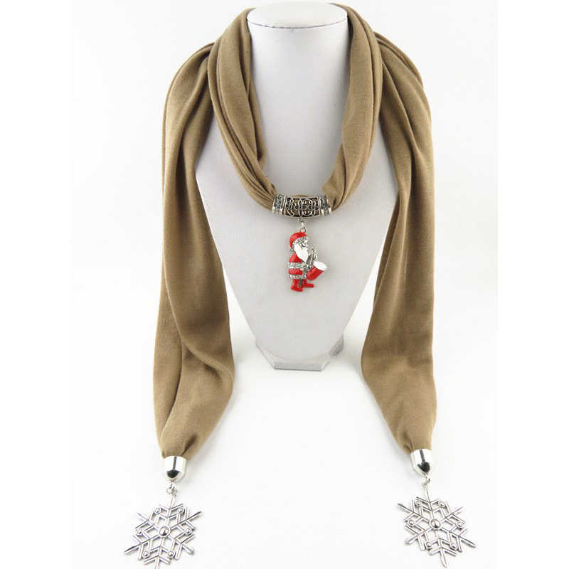 [RUNMEIFA] Santa Claus Natal Pohon Jantung Snowflake Pendant Selendang Wanita Syal Indah Perhiasan Kalung Jewelle Lembut Elegan