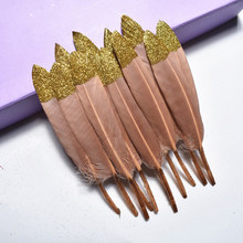 20Pcs Gold Dipped Brown Duck Feathers Goose for Crafts 10-15CM/4-6 Natural Pheasant Feather Jewelry Making Plumas