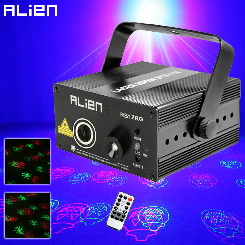 ALIEN New Remote 12 RG Halloween Patterns Stage Laser Projector Lighting Effect Halloween Party Holiday DJ Disco Dance Bar Light laser stage lighting 48 patterns rg club light red green blue led dj home party professional projector disco dance floor lamp