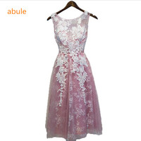 Abule Short Evening Dresses Appliques With Beaded Wedding Sexy Party Dress Formal Dress Custom Robe De