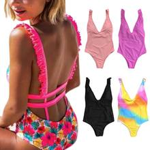 One Piece Bikini Terjun V Leher Ruffles Strap Monokini Berwarna Pelangi Bunga Perban Swimsuit Backless Tinggi Dipotong Beachwear(China)