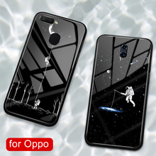 For Oppo R9s plus case glass back anime