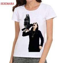 Manga Niñas Blanco Mujeres T Las Camisa Star Corta Ozzy Camiseta Osbourne Color Logo wR0HqCIH