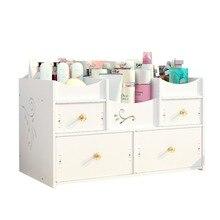 Desktop cosmetics storage box wood-plastic household simple drawer finishing dressing table rack cosmetic case