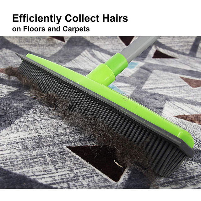 Rubber Broom Pet Hair Lint Removal Device Telescopic Bristles Magic Clean Sweeper Squeegee Scratch Bristle Long Push Broom 3