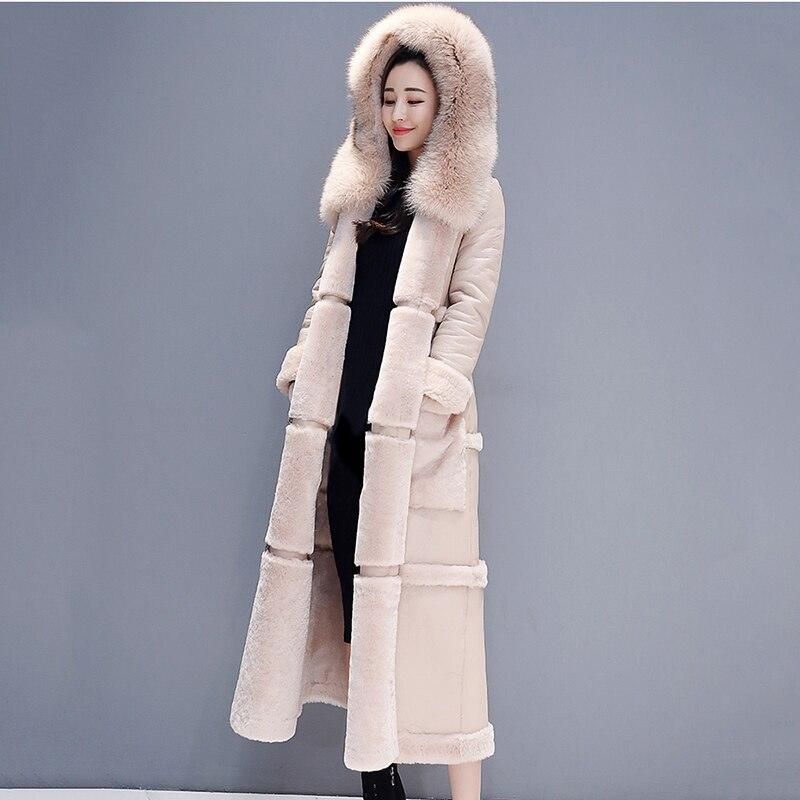 Nuevo abrigo de piel sintética para invierno, Parka con capucha para mujer, abrigo de piel sintética Fashon, Chaqueta larga de piel gruesa cálida de lana, abrigo de cuero de oveja
