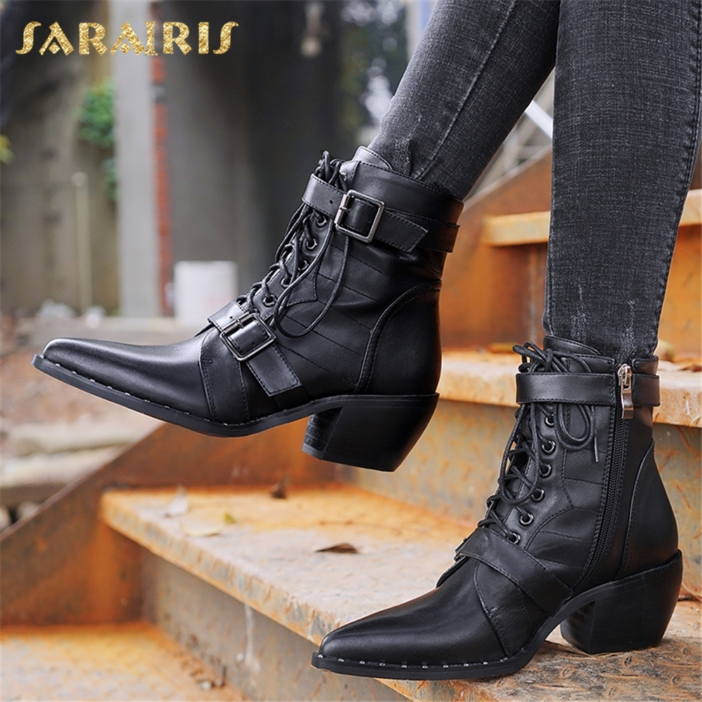 5a4e3b08f00 SARAIRIS 2018 Brand 2018 Cow Leather plus Size 34-42 Hot Sale Chunky Heels  Boots Women Shoes Western Woman Ankle Boots