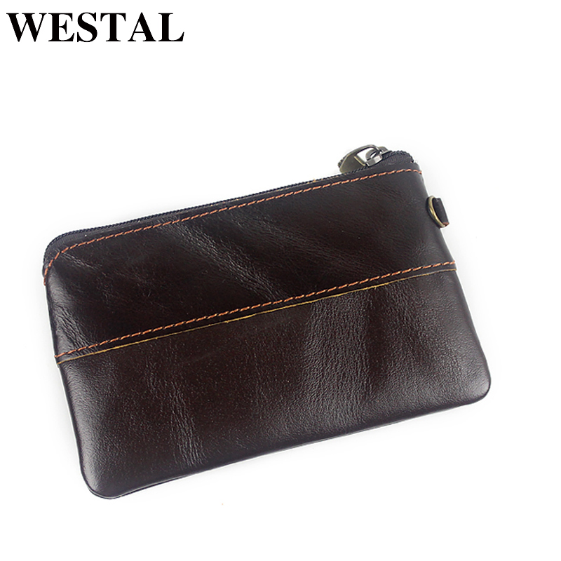 WESTAL New Arrival Genuine Leather Wallets Women Wallets Men Coin Purse Zipper Short Wallets Male Purse Photo Card Holder купить