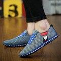 A ventilação reticular sapatos casuais para homens sapatos respirável moda masculina Pure color é plana homens sapatos Frete Grátis
