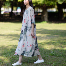 Vestidos 2017 Spring Summer Dress Vintage Chinse Ink Painting Women Dress Fairy Vintage Print Silk Cotton O-Neck Party Dress S81
