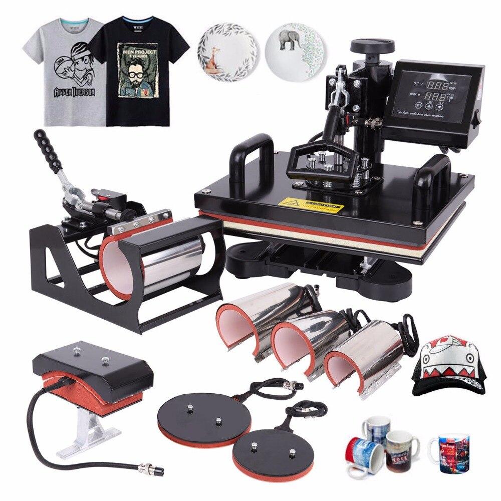 (El barco de Alemania) 8 en 1 máquina de prensa de calor máquina de la sublimación máquina de transferencia de calor para la camiseta taza sombrero Placa de 12x15 pulgadas