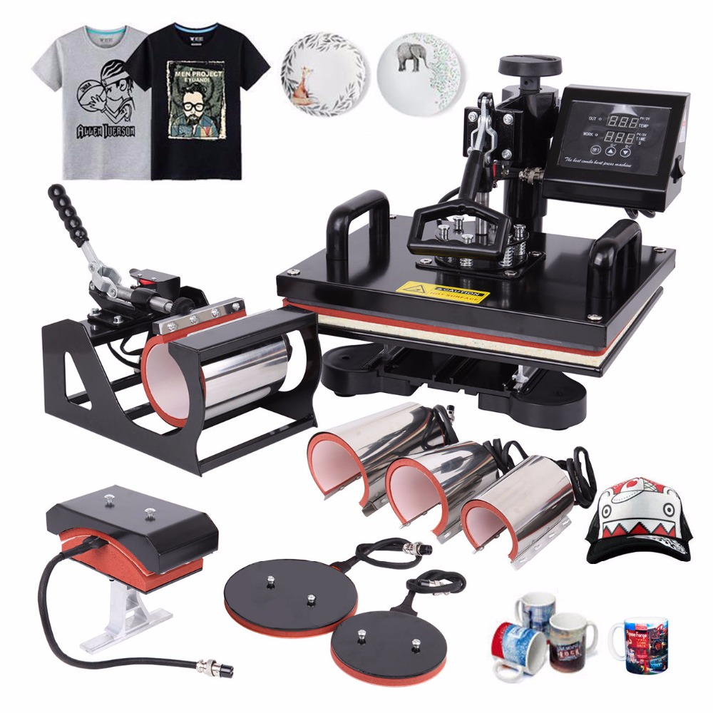 (Ship from Germany) 8 in 1 Heat Press Machine Sublimation Heat Transfer machine for T-Shirt Mug Hat Plate Cap phone cases 1pc 6in1 30 38cm t shirt swing away heat press machine shaking head heat transfer sublimation machine