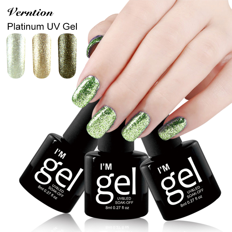 Verntion Gorgeous 8ml UV Gel Nail Polish Colors Soak Off 12 Metal ...