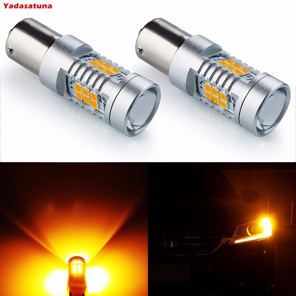 2*7056 1156 BA15S 1141 P21W Amber/White LED Bulbs 2835 21SMD LED Turn Signal Light with Canbus Decoder Error Free Load Resistors 2pcs lot t15 w16w 921 912 2835 21smd led canbus error free tail lights bulbs car reverse light backup light white 12v 24v