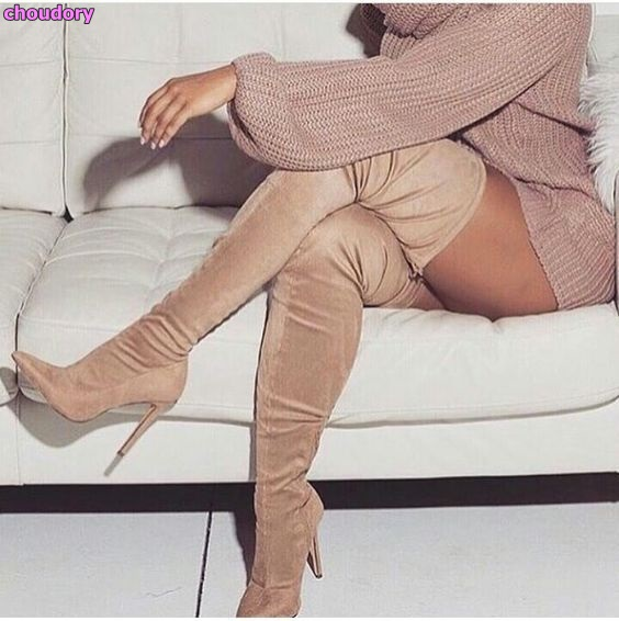 Women Hot Selling Beige Suede Thigh High Boots Pointy Toe Slim Fit Dress High Heel Shoes Over The Knee Fashionable Long Boots