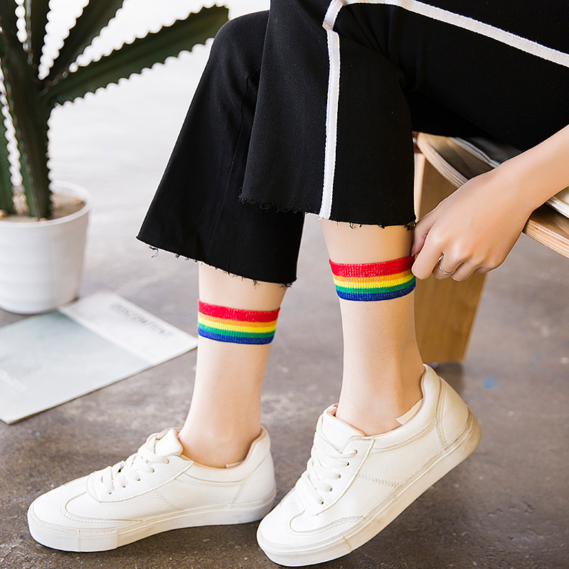 Ins Style Fashion Transparent Rainbow Short Socks Women Summer Thin Harajuku Ankle Socks Hipster Art Low Cute Socks Fmale Sox