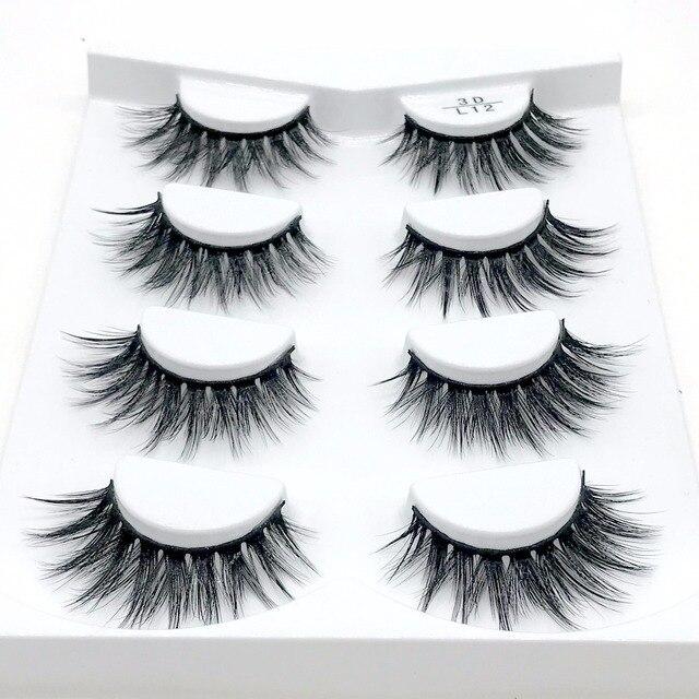8b65a388918 2018 NEW 4 pairs 100% Real Mink Eyelashes 3D Natural False Eyelashes 3d  Mink Lashes Soft Eyelash Extension Makeup Kit Cilios