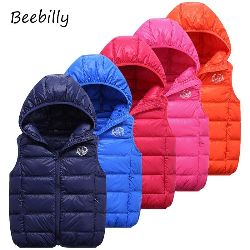 BEEBILLY 2-12 Kids Vest Baby Girls Waistcoat 90% Duck Down Vests Warm Kids Boy Outerwear Coats Boys Winter Vest Children Clothes