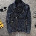 Brand Clothing Mens Punk Motorcycle Motor Biker Denim Jacket Stand Collar Slim Fit Jean Jackets Coat Men Plus Size M-3XL A900