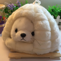 Candice guo! super cute plush toy cartoon small seal sea dog sea lion with house hole nest stuffed doll girls birthday gift 1pc