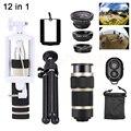 8X de Zoom Telefoto LensMicroscope Lentes olho de Peixe Grande Angular Macro Tripé lente do telefone para o iphone 7 6 5 s samsung s6 s7