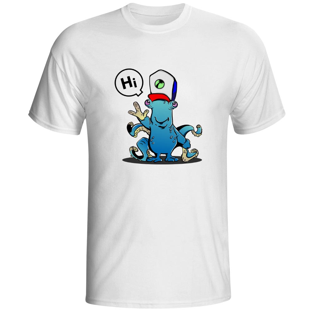 Octopus Say Hi T Shirt Youthful Rebellion Print Aggressively Modern Cartoon Design Fashion T-shirt Funny Cool Hip Hop Unisex Tee