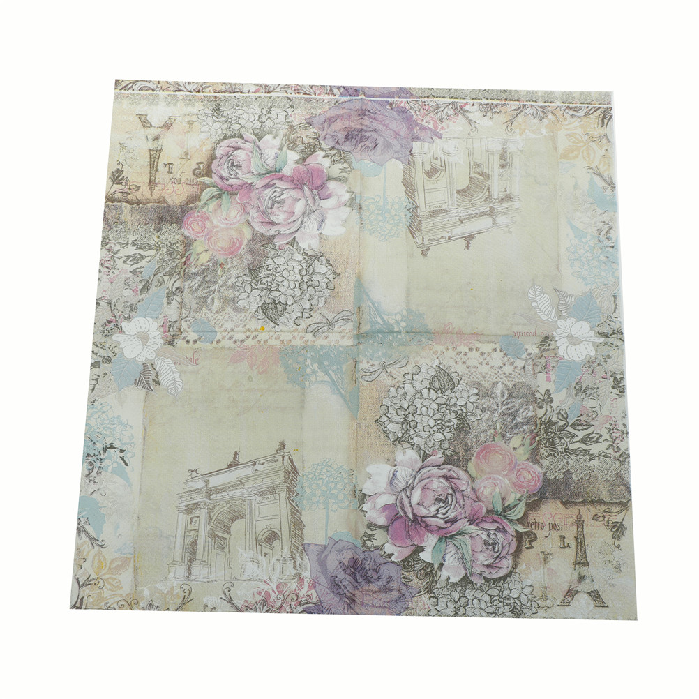 20pcs Tower Flower Pattern Napkins Party Tissue For Birthday/Wedding Party Decor 33x33cm