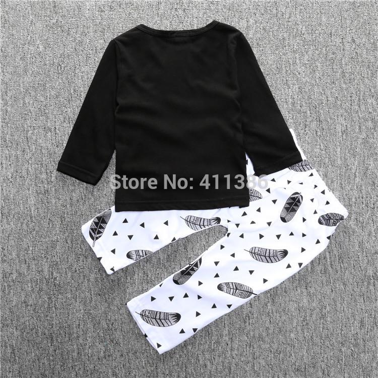 ST189 2017 Nowa dziewczyna przyjazdu i chłopców ubrania ustawić długi rękaw + Spodnie sowa wzór zestaw noworodka ubrania dla dzieci garnitur dzieci odzież 32