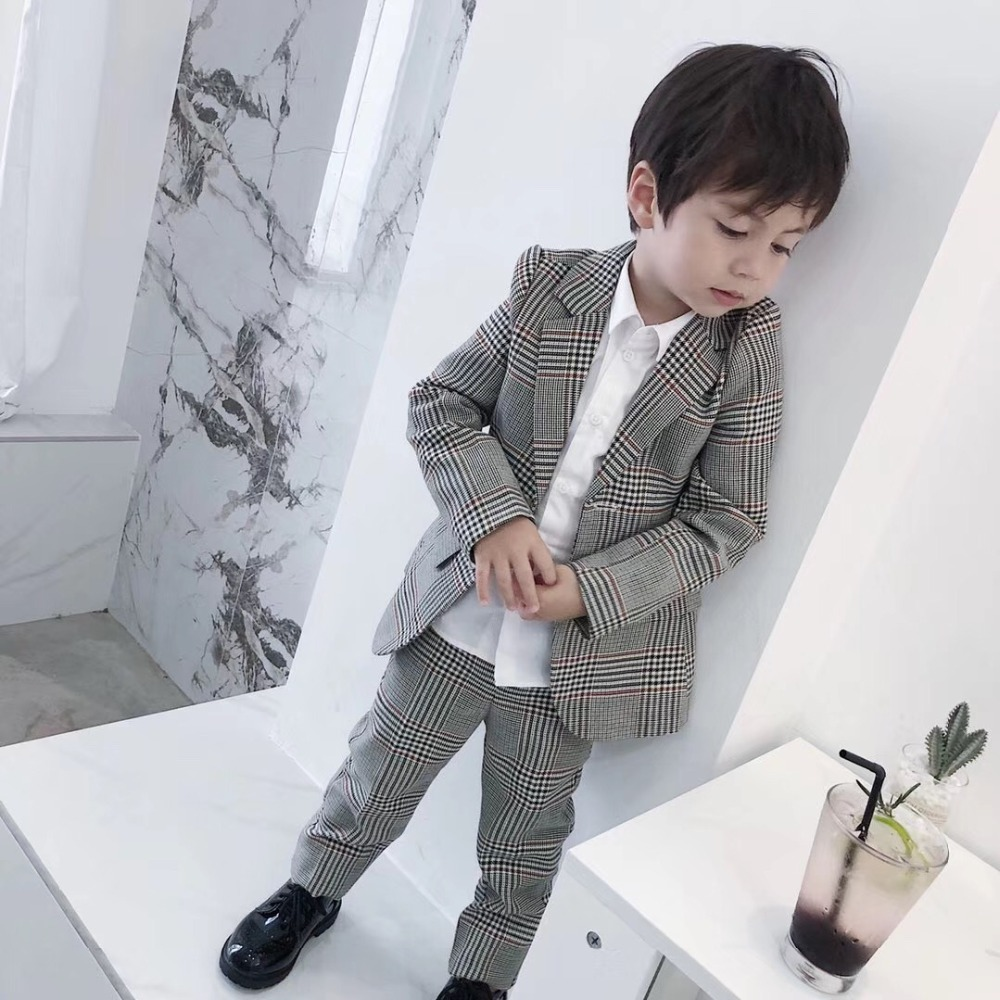Kids Children Suit Plaid Suits For Boys Wedding Clothes Set High