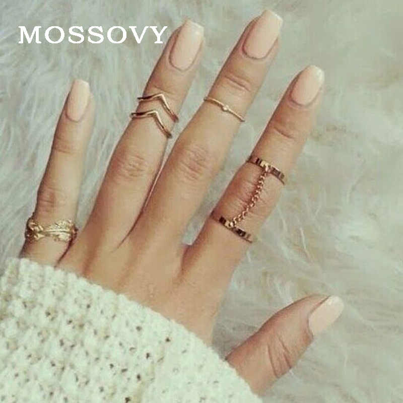 Mossovy Leaf V-shaped Refers Chain 6 Piece Set Ring for Female Fashion Popular Gold Ring for Women Jewelry Anillos Bague Femme