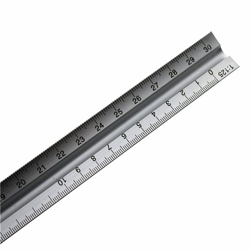 30CM Aviation Triangular Scale Aluminum Alloy Material 1: 20/1: 25/1: 50/1: 75/1: 100/1: 125 Multi-Function Measuring Ruler