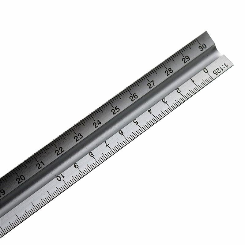 30CM Aviation Triangular Scale Aluminum Alloy Material 1: 20/1: 25/1: 50/1: 75/1: 100/1: 125 Multi-Function Measuring Ruler