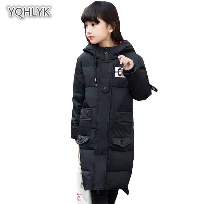 90% white duck down winter new children girls down jacket hooded warm coat thick girls cotton long Parkas Outerwear & Coats k134 2015 new winter thick down jacket women black and white patchwork color plus size coat white duck down 90% down jacket ae396
