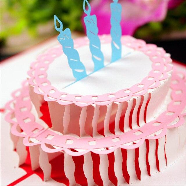 DIY Cake Greeting Card Retro 3D Birthday Party Wedding Couple Invitation Postcard