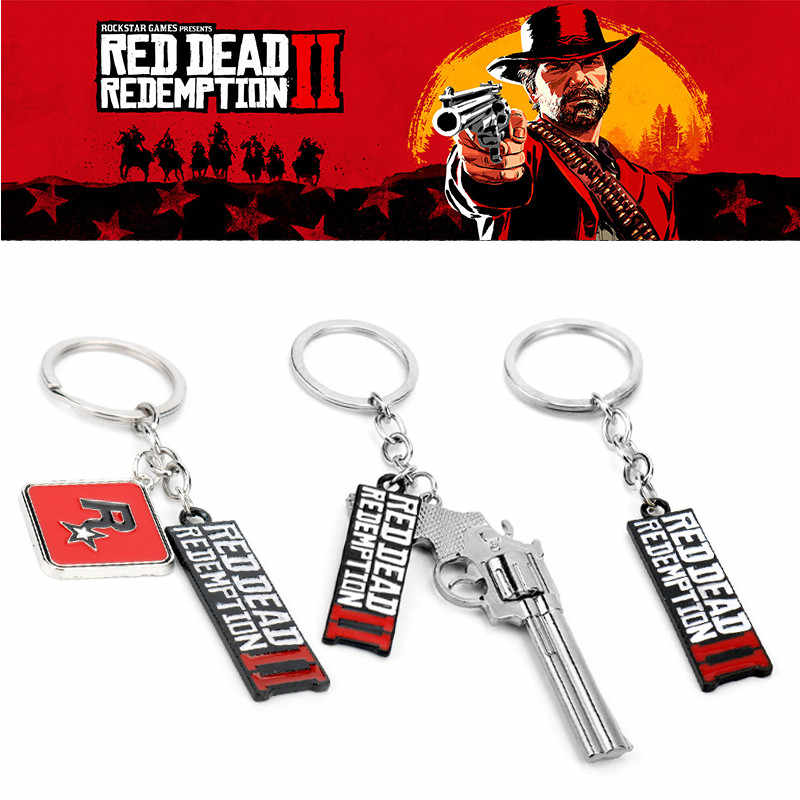 Game Trinket Red Dead Redemption 2 Keychain Gun Model Pendant Key Ring Metal Key Chains Bags Car Keyholder