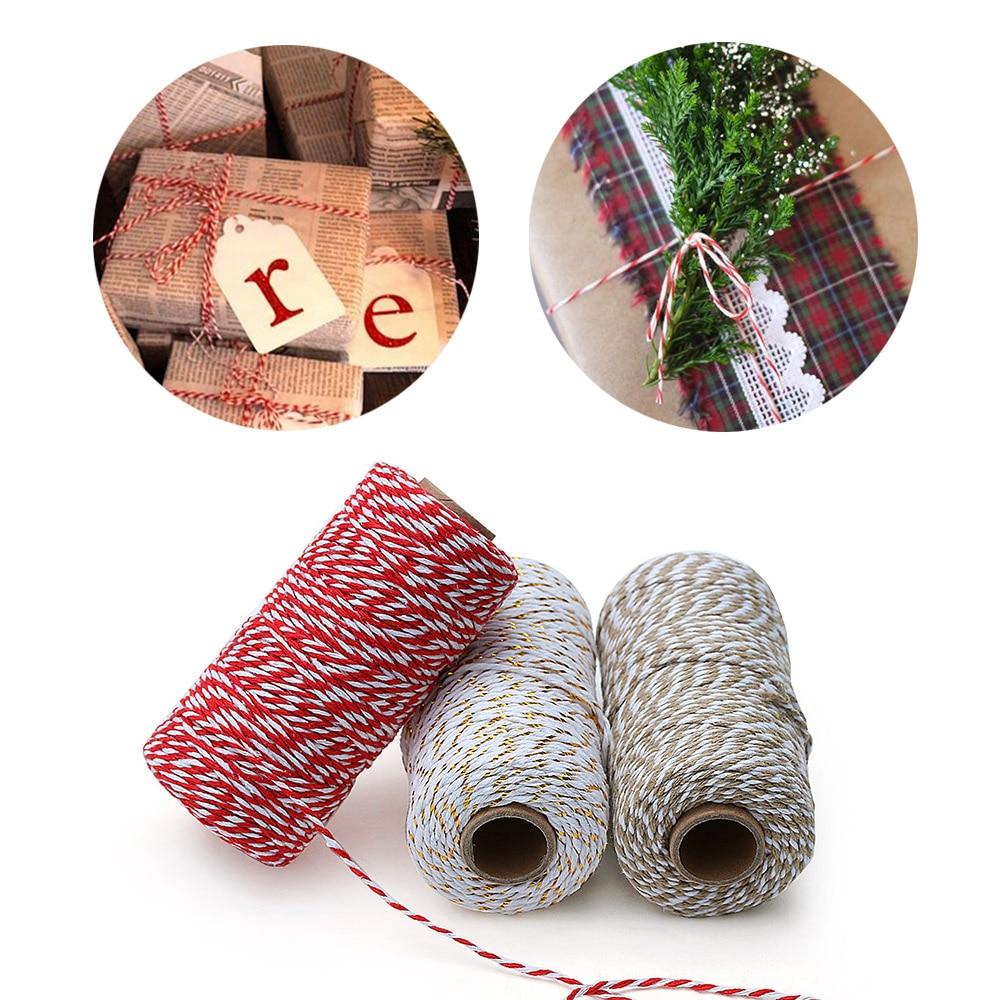 100 м/рулон двухслойные плетеные веревки из хлопка, шнуры для домашнего декора, Рождественский подарок ручной работы, упаковка, сделай сам, уп...
