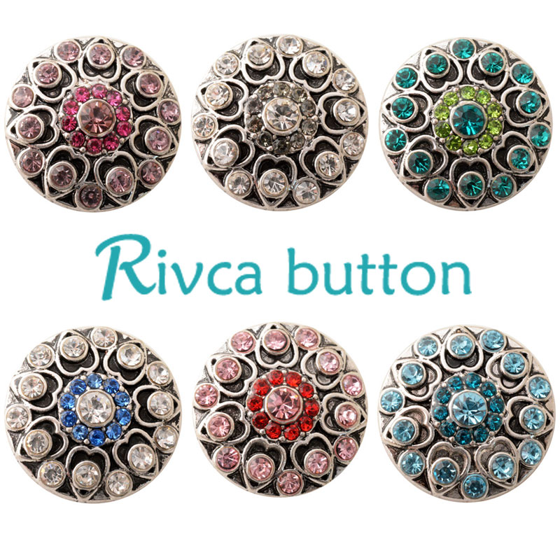 D02382 Newest 6 Color High Quality Charm Rhinestone Styles Alloy Ginger Snap Button Bracelet For Woman Rivca Snap Button Jewelry