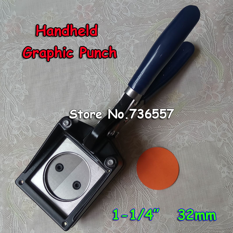 NEW Hand Held Manual Round 32mm 1-1/4 Paper Graphic Punch Die Cutter for Pro Button Maker