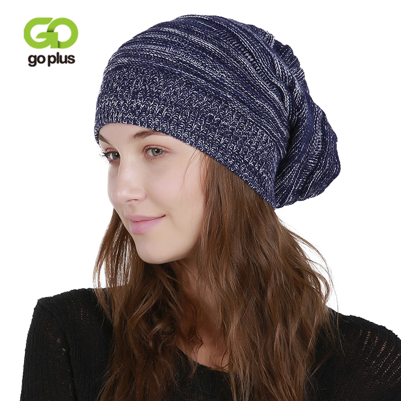 GOPLUS 2019 Spring Winter Knitted Hat Women Fashion Casual Brand Girl Hip Hop Skullies Beanie Cotton Warm Slouchy Cap Female