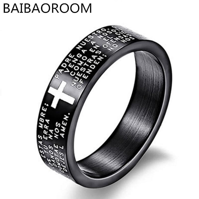Мода Писание Крест Библии текст греческие татуировки Для мужчин кольцо Кольца для Для женщин Титан Сталь украшения подарок