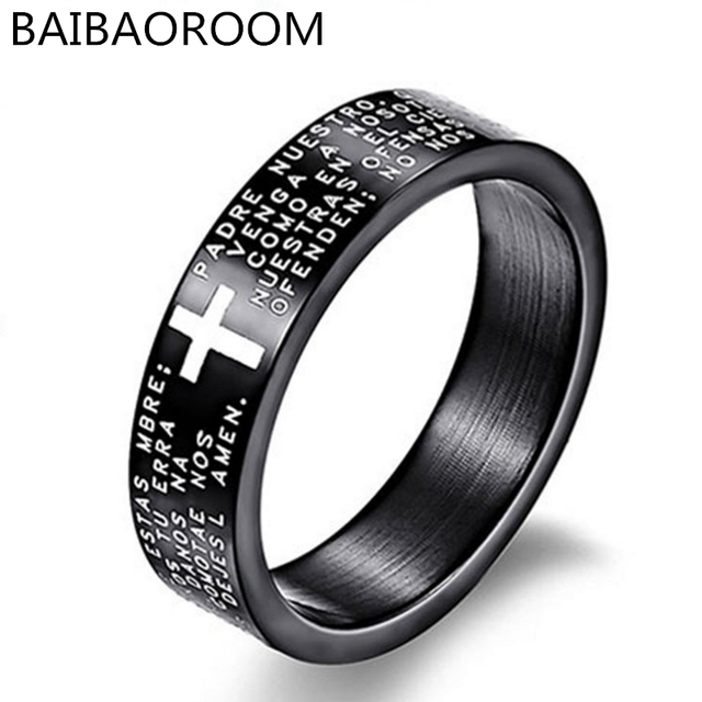 Fashion Scripture Cross Bible Text Jesus Tattoo Men Ring Rings For Women Titaniu