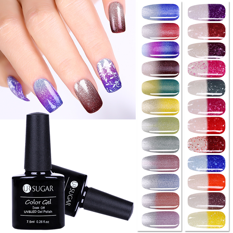 UR SUGAR 7.5ml Soak Off UV Thermal Ultra-thin Glitter Gel Top Coat Color-chaging Varnish Gel Nail Art Lacquer